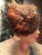 Vintage Womens Hat Feathered Half Skull Cap  Steampunk Hat Costume Theater Hat