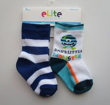 "NEW 2-Pack Infant Boys Socks, ""Dad's Little Monster"" & Stripes 6-12 Mo Baby Sox"