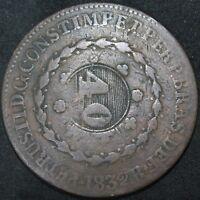 1832 R | Brazil 40/80 Reis 'Over-struck' | Copper | Coins | KM Coins