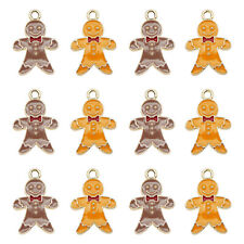 12pcs Enamel Plated Gingerbread Man 20x14mm Pendant Charms Jewelry DIY Findings