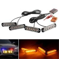 Car 6LED Amber Police Strobe Flash Light Dash Emergency Warning Lamp Kit Set