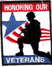 """HONORING OUR VETERANS"" - IRON ON EMBROIDERED PATCH - MILITARY - PATRIOTIC"