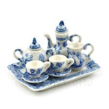 Dolls House Miniature 6 Piece Blue And White Design Fine Coffee Set