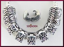 10 Lock Clip Antique Silver w/ Pink Stone Fits European Style Charm Bracelet L06