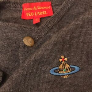 VIVIENNE WESTWOOD Grey Cardigan Size Small 100% Wool