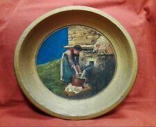 Piatto in legno di faggio dipinto e firmato cm 33x36 Antikidea