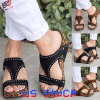 Women Shoes Wedges Diamond Gift Leopard Espadrilles T-Strap Beaded Sandals US