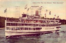 """1944 Hudson River Day Line Steamer """"Peter Stuyvesant"""" Handcolored"""