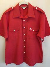 Vintage L Tori Richard Honolulu Red Button Shirt Epaulet Embroidery Boat Captain