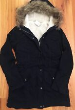 NWT Hollister by ABERCROMBIE FITCH WOMENS SHERPA LINED PARKA JACKET Navy L