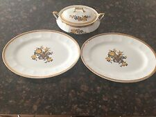 LIMOGES USA CHINA CO WARRANTED 18K GOLD CASSEROLE DISH AND (2) PLATTERS