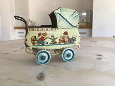 Antique Vintage German Litho tin plate dolls house pram,beautiful  toy pram.