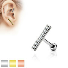 Cartilage Tragus Barbell Stud Surgical Steel 316L with Zirconia, Length 12 mm