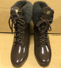 Rare Hunter Earlham Brown Wedge Heel Fur Trim Rubber Rain Boots US 7 EU 38 UK 5