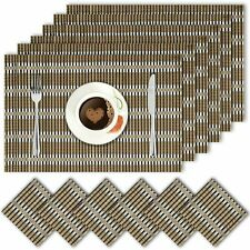 Bamboo with Silver Stripe Dinner Table Kitchen Placemats and Tea Coasters Set 6
