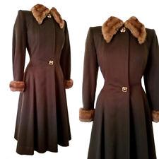 vintage 30s 40s Kirshmoor of California wool princess coat fur collar brown