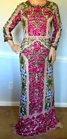 New Marchesa Notte Guipure Lace Floral Embroidered Long Maxi Dress Gown US 2