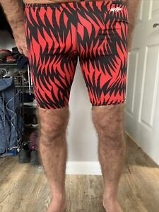 Mens Swimwear Dolphin Jammer Red And Black Gay Interest Size 28 New Without Tags