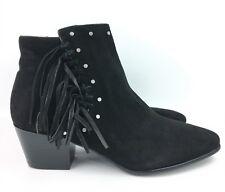 Sam Edelman Rudie Black Suede Studded Fringe Ankle Boots sz: US 6