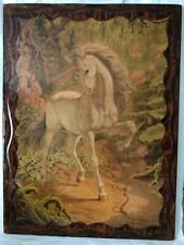 """Beautiful Vintage Wooden Glazed Unicorn  Wall Picture 31 1/2"""" H x 24"""" W"""