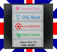 10, 25 or 50 Iron on Name Labels Personalised School Uniform Clothing Waterproof