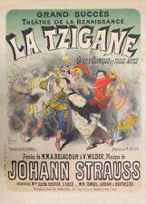 JULES CHERET Johann Strauss La Tzigane, 1877, Art Nouveau Belle Epoque Poster