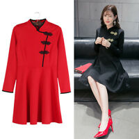 Chinese DressTraditional Cheongsam with Button Contrast Color Long Sleeve New