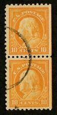 US 1916 #472 - 10c Orange Franklin - Vertical Pair - Strip of 2 Used VF