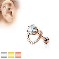 1pc CZ Hollow Heart Surgical Steel Helix Tragus Cartilage Barbell Stud Earring
