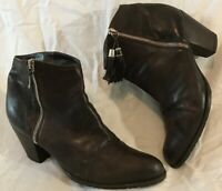 Russell&Bromley Dark Brown Ankle Leather Lovely Boots Size 8 (888Q)
