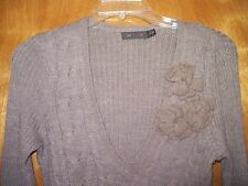 Women's THE LIMITED Taupe Wool Blend V-Neck Sweater