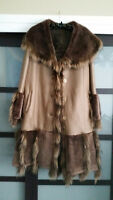Womens Sheepskin Genuine Leather Shearling Fur jacket coat, Handmade CNT, L - XL