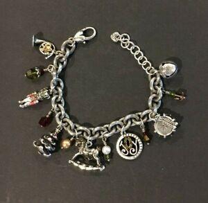 Vintage Brighton Christmas Theme Joy Charm Silver Chain Link Bracelet
