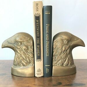 Pair of Mid Century Elweco Genuine Brass American Eagle Bookends