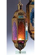 Appendere Gold Metal & multi colore in vetro stile marocchino Candle Lantern-MEDIUM