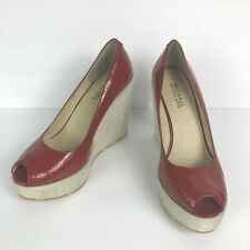 MICHAEL KORS Red Leather Wedge Espadrilles Women Size 7 M
