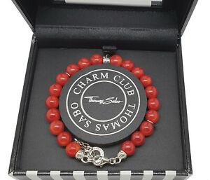 Thomas Sabo Charm Armband, 925/- Sterling Silber, rot, Neu