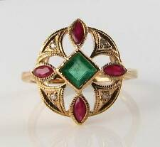 SUBLIME 9K 9CT GOLD EMERALD RUBY & DIAMOND ART DECO INS RING FREE RESIZE