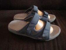 """BASS """"PONG"""" BLUE SUEDE SLIP ON SLIDES WITH DUO ADJUSTABLE STRAP SZ 7.5 MED CLEAN"""