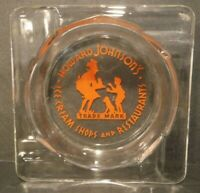 Vintage Orange Howard Johnson's Ice Cream Shops and Restaurants Glass Ashtray