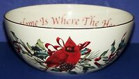 """STUNNING LENOX WINTER GREETINGS 7"""" BOWL HOME IS WHERE THE HEART IS CARDINAL"""