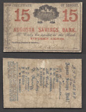 15c 1861=OBSOLETE=AUGUSTA SAVINGS BANK=GEORGIA=RED OVERPRINT=FINE