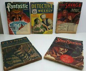 VINTAGE PULP 1925-1950 *Lot of 5* DOC SAVAGE FLYNN'S DETECTIVE L RON HUBBARD