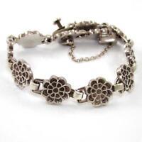 "HEAVY Vintage Sterling Silver Taxco Mexico Flower Chain Link Bracelet 8"" SEI"