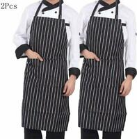 2Pcs Apron with Pocket Chef Butcher Kitchen Restaurant Cook Wear COOKING BAKING