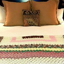 Vintage Throw Blanket Afghan Crochet Knit Handmade Needlecraft Queen/King Size
