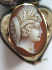 Stunning Victorian Antique Yellow Gold Carved Cameo Large Size Ring Split Shank