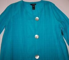 05d260d51b NWT Ali Miles Turquoise Blue HI-LOW Textured Top Tunic Jacket 2X Shell  Buttons