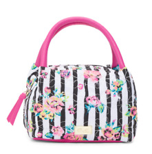 Luv Betsey Johnson Lunch Tote Bag Insulated Satchel Pink Black White Rose Nwt