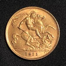 1911 Half Sovereign, George V, Gold, Mint Condition